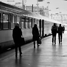 In a line - Gare du Nord - Paris France by Norman Repacholi
