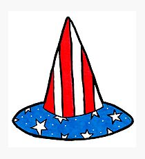Patriotic American Flag Witch Hat Photographic Print