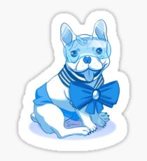 Sailor MercuFrenchie (Sailor Mercury) Blue Gradient Sticker