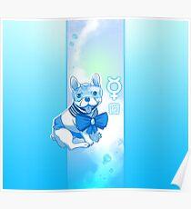 Sailor MercuFrenchie (Sailor Mercury) Blue Gradient Poster