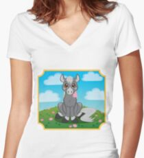 Flower Pony Women's Fitted V-Neck T-Shirt