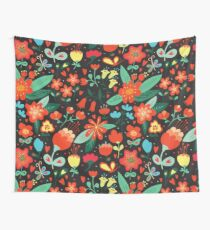 Flowers and hearts Wall Tapestry