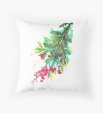 Christmas Holly - T shirt Throw Pillow
