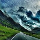 Road through the Scottish Highlands by hans p olsen