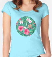 Classic Tropical Garden with Pink Flowers Women's Fitted Scoop T-Shirt