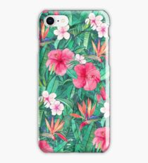 Classic Tropical Garden with Pink Flowers iPhone Case/Skin