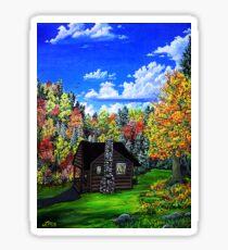 autumn cabin Sticker