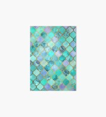 Cool Jade & Icy Mint Decorative Moroccan Tile Pattern Art Board