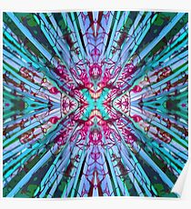 Yucca Op in Blue, Green and Magenta Poster