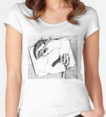 Souvenir from Netherlands - Escher's hands Women's Fitted Scoop T-Shirt