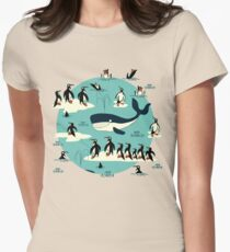 Whales, Penguins and other friends Women's Fitted T-Shirt