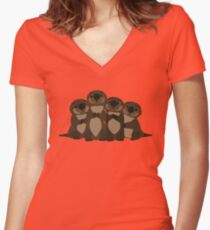 Sea otters Q Women's Fitted V-Neck T-Shirt