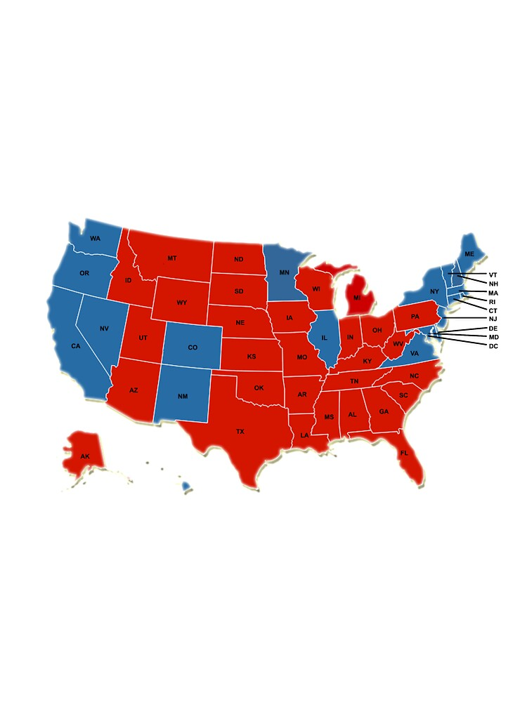 Donald Trump Th US President USA Map Election - Map of us by red or blue 2016