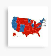 Donald Trump 45th US President - USA Map Election 2016 Canvas Print