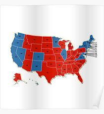 Donald Trump 45th US President - USA Map Election 2016 Poster