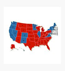 Donald Trump 45th US President - USA Map Election 2016 Photographic Print