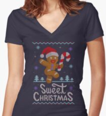 Sweet Christmas Ugly Sweater. Dulce NAvidad Women's Fitted V-Neck T-Shirt