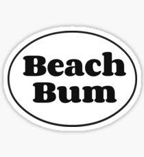 Beach Bum Oval (Black & White) Sticker
