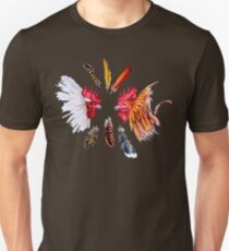 Two fighting cocks and feathers Unisex T-Shirt