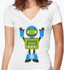 Robot Character #165 Women's Fitted V-Neck T-Shirt