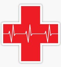 Cross First Aid EKG Heartbeat in Red Sticker