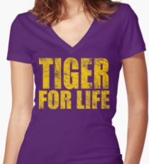 Tiger for Life -Gold and Purple Women's Fitted V-Neck T-Shirt
