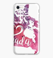 Canada Watercolor Map - I Heart Canada Hand Lettering iPhone Case/Skin