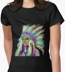 Native american woman neon Women's Fitted T-Shirt