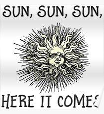 Here Comes The Sun - John Lennon - The Beatles lyrics design Poster