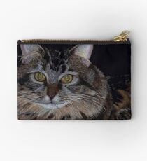 Little Girl - Maine Coon Colored Pencil Painting Studio Pouch