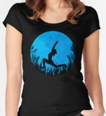 Yoga Moon Posture - Blue Women's Fitted Scoop T-Shirt