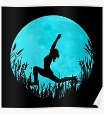 Yoga Moon Posture - Turquoise Poster