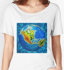 globe, in a center north America Women's Relaxed Fit T-Shirt