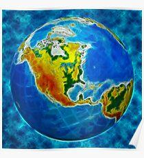 globe, in a center north America Poster