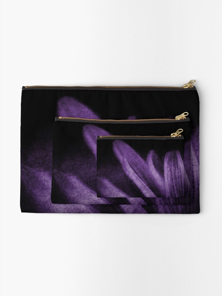 Alternate view of Abstract Petals in Purple Grunge Zipper Pouch