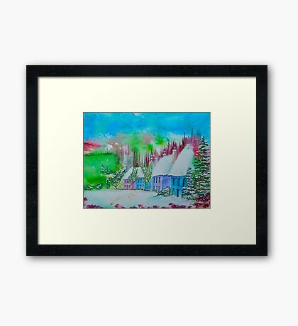 Cottages in  the Valley Framed Print