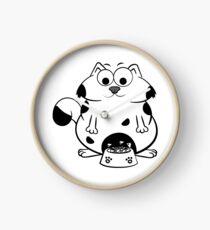 Funny Fat Cat Eat Fish Bones From A Big Bowl  Clock