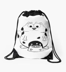 Funny Fat Cat Eat Fish Bones From A Big Bowl  Drawstring Bag