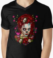 Sugar Doll Red Dia De Muertos Men's V-Neck T-Shirt