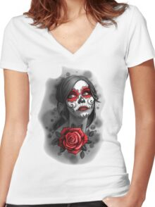 Day of the Dead Girl Red Makeup and Rose Pencil Sketch Women's Fitted V-Neck T-Shirt