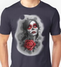 Day of the Dead Girl Red Makeup and Rose Pencil Sketch Unisex T-Shirt