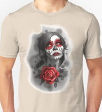 Day of the Dead Girl Red Makeup and Rose Pencil Sketch T-Shirt