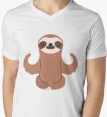 Sloth doing yoga V-Neck T-Shirt