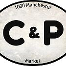 C & P Market Oval Sticker (Weathered) by Joshua Potter