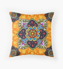 Mexican Talavera Flower Throw Pillow