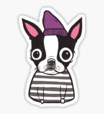 Boston Terrier in a Striped Shirt Sticker