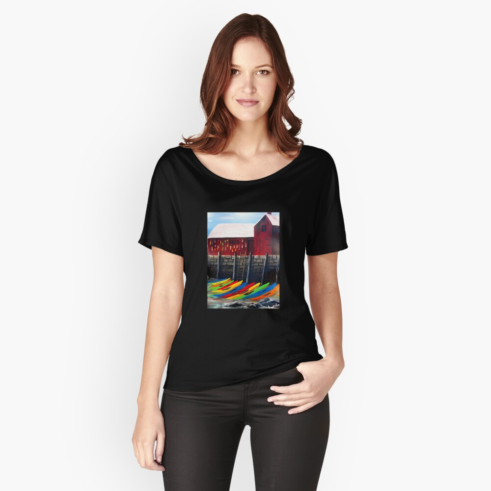 Rainbow Of Kayaks Under Motif-1 _*kj style_* Women's Relaxed Fit T-Shirt Front