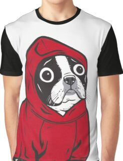 Boston Terrier in a Red Hoodie Graphic T-Shirt