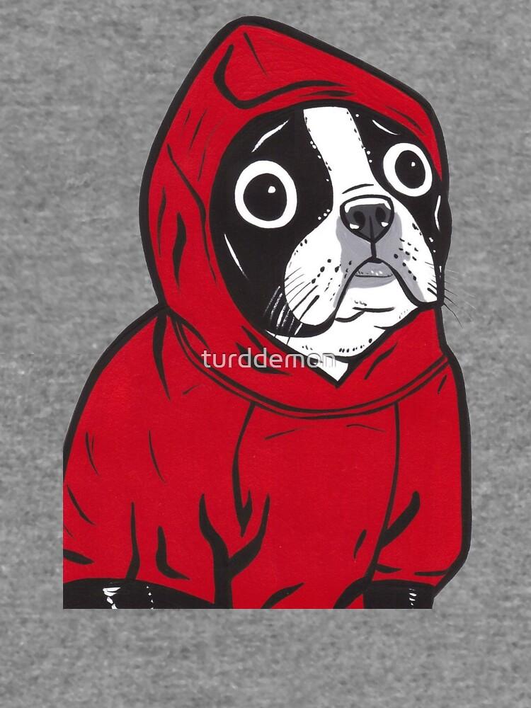 Boston Terrier in a Red Hoodie by turddemon