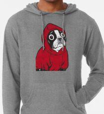 Boston Terrier in einem roten Hoodie Leichter Hoodie